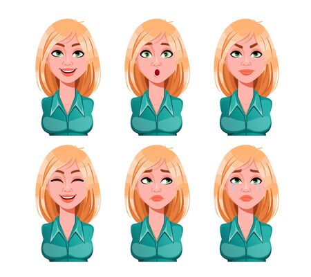 Face expressions of woman with blonde hair. Different female emotions set. Beautiful cartoon character. Vector illustration isolated on white background. Vector Illustratie