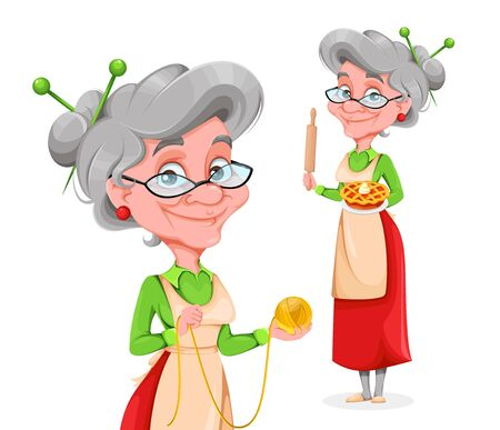 Cute smiling old woman, set of two poses. Happy Grandparents day. Cheerful grandmother cartoon character. Vector illustration on white background Vetores