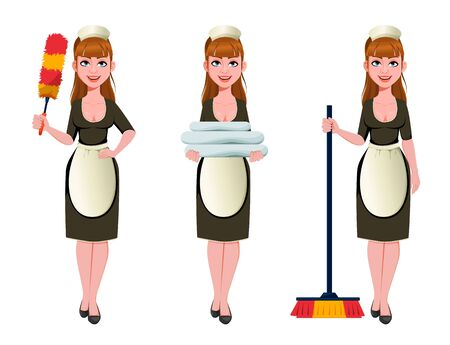 Maid, cleaning lady, smiling cleaning woman, set of three poses. Cheerful housemaid cartoon character holds dust brush, holds fresh linens and holds broom. Vector illustration