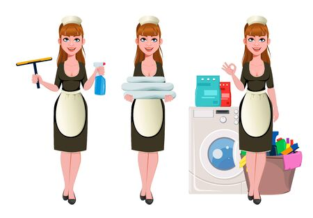 Maid, cleaning lady, smiling cleaning woman, set of three poses. Cheerful housemaid cartoon character. Vector illustration