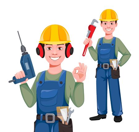 Builder cartoon character, set of two poses. Young construction worker in hard hat holding drill and holding wrench. Vector illustration on white background
