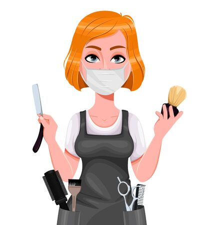 Beautiful redhead girl hairdresser holds straight razor and shaving brush. Cute woman barber in protective mask. Female hairstylist cartoon character. Vector illustration Vector Illustration