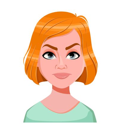 Face expression of redhead woman, angry. Female emotion. Beautiful cartoon character. Vector illustration