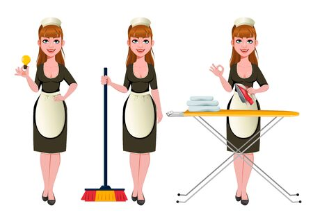 Maid, cleaning lady, smiling cleaning woman, set of three poses. Cheerful housemaid cartoon character holds lightbulb, holds broom and irons. Vector illustration  イラスト・ベクター素材