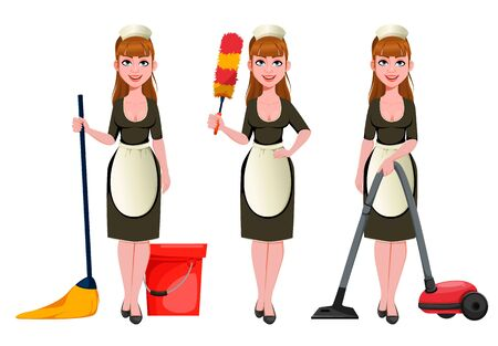 Maid, cleaning lady, smiling cleaning woman, set of three poses. Cheerful housemaid cartoon character mops floor, holds dust brush and vacuums. Vector illustration  イラスト・ベクター素材