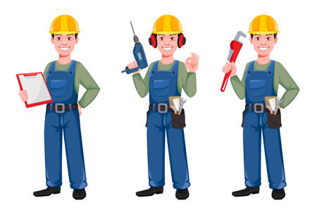 Builder cartoon character, set of three poses. Young construction worker in hard hat holding clipboard, holding drill and holding paint wrench. Vector illustration Ilustração