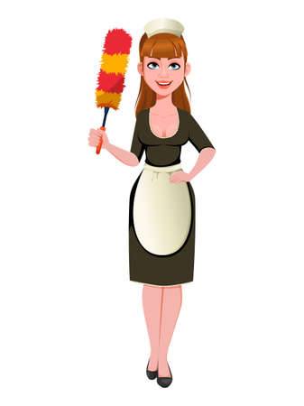 Maid, cleaning lady, smiling cleaning woman holds dust brush. Cheerful housemaid cartoon character. Vector illustration