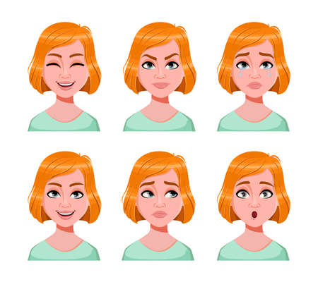 Face expressions of cute redhead woman. Different female emotions set. Beautiful lady cartoon character. Vector illustration on white background. Vektorové ilustrace