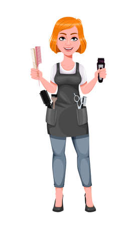 Beautiful redhead girl hairdresser holds electric shaver. Cute woman barber. Female hairstylist cartoon character. Vector illustration