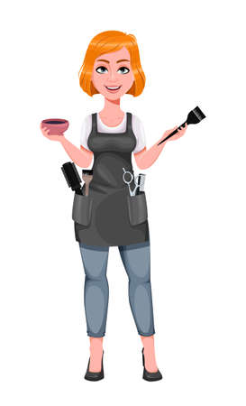 Beautiful redhead girl hairdresser holds hair dye and brush. Cute woman barber. Female hairstylist cartoon character. Vector illustration