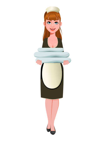 Maid, cleaning lady, smiling cleaning woman holds fresh linens. Cheerful housemaid cartoon character. Vector illustration