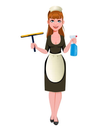 Maid, cleaning lady, smiling cleaning woman. Cheerful housemaid cartoon character. Vector illustration on white background