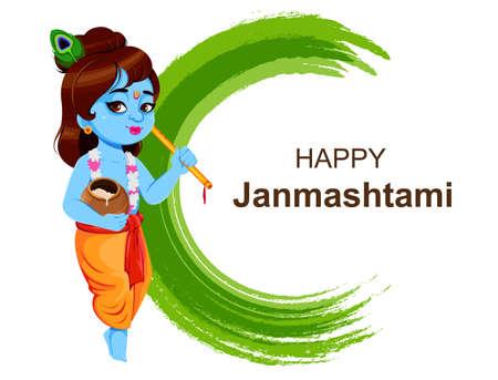 Happy Krishna Janmashtami, set of three poses. Lord Krishna with flute and pot. Happy Janmashtami festival of India. Vector illustration isolated on abstract background