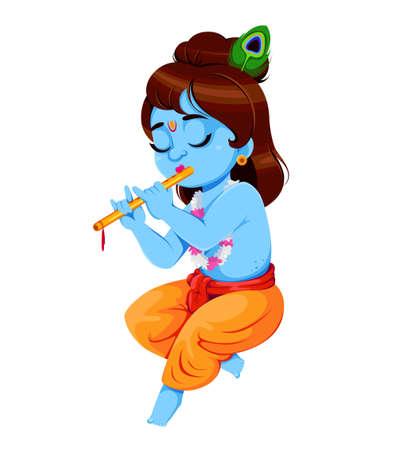 Happy Krishna Janmashtami. Lord Krishna playing flute. Happy Janmashtami festival of India. Vector illustration on white background