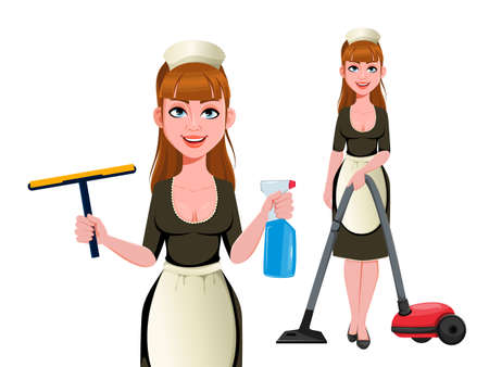 Maid, cleaning lady, smiling cleaning woman, set of two poses. Cheerful housemaid cartoon character. Vector illustration on white background