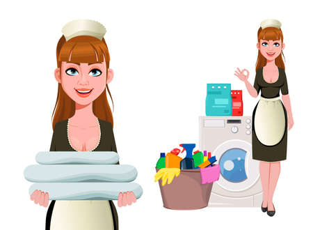 Maid, cleaning lady, smiling cleaning woman, set of two poses. Cheerful housemaid cartoon character washes clothes. Vector illustration