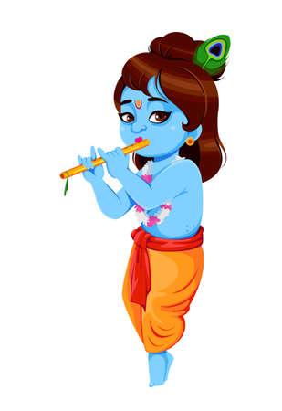 Happy Krishna Janmashtami. Lord Krishna with flute. Happy Janmashtami festival of India. Vector illustration on white background Ilustração