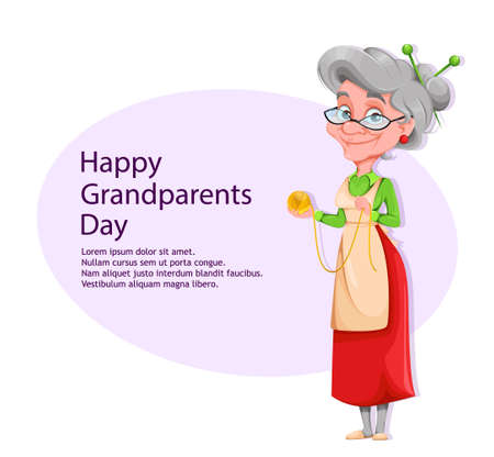 Happy Grandparents day greeting card with copyspace. Cute smiling old woman. Cheerful grandmother cartoon character. Vector illustration