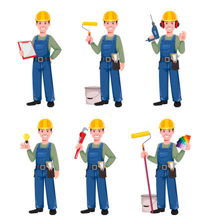 Builder cartoon character, set of six poses. Young construction worker in hard hat. Vector illustration