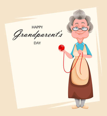 Happy Grandparents day greeting card. Cute smiling old woman. Cheerful grandmother cartoon character holding a ball of yarn. Vector illustration Ilustrace