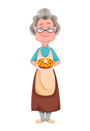 Happy Grandparents day. Kind Granny holding delicious pie. Cute old woman. Cheerful grandmother cartoon character. Vector illustration isolated on white background 向量圖像