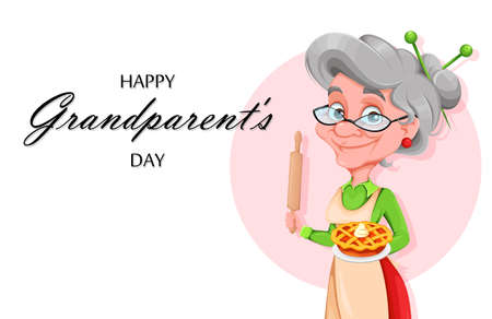Happy Grandparents day greeting card. Cute smiling old woman. Cheerful grandmother cartoon character. Vector illustration Ilustração