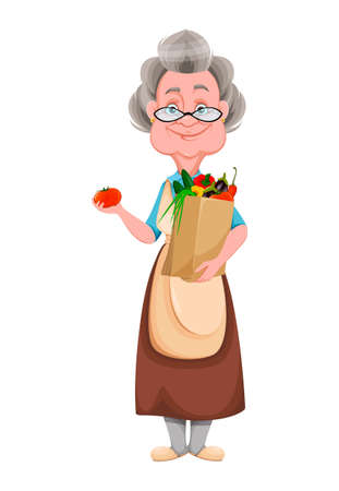 Happy Grandparents day. Kind Granny holding bag with vegetables. Cute old woman. Cheerful grandmother cartoon character. Vector illustration isolated on white background