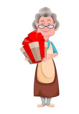 Happy Grandparents day. Kind Granny with big gift box. Cute old woman. Cheerful grandmother cartoon character. Vector illustration isolated on white background