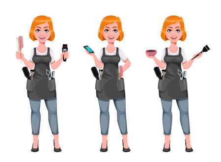 Beautiful redhead girl hairdresser, set of three poses. Cute woman barber. Female hairstylist cartoon character. Vector illustration on white background