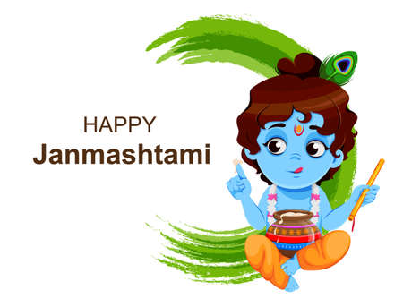 Happy Krishna Janmashtami sale. Little Lord Krishna with flute and pot. Happy Janmashtami festival of India. Vector illustration on abstract background