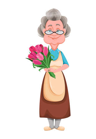 Happy Grandparents day. Kind Granny holding a bouquet of tulips. Cute old woman. Cheerful grandmother cartoon character. Vector illustration isolated on white background 向量圖像