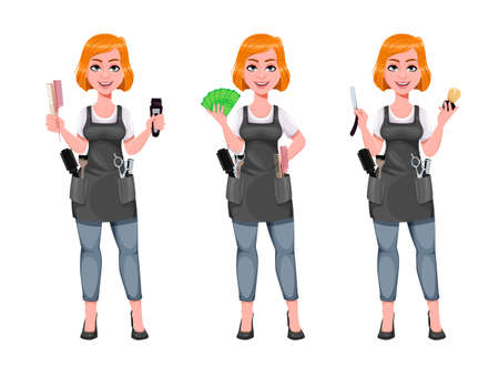 Beautiful redhead girl hairdresser, set of three poses. Cute woman barber holds electric shaver, holds money and holds straight razor. Female hairstylist cartoon character. Vector illustration Ilustração