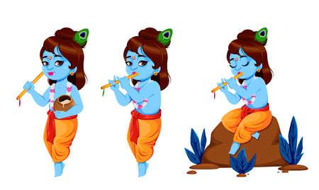 Happy Krishna Janmashtami, set of three poses. Lord Krishna with flute. Happy Janmashtami festival of India. Vector illustration