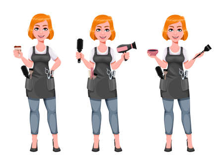 Beautiful redhead girl hairdresser, set of three poses. Cute woman barber holds coffee, holds hair dryer and holds hair dye. Female hairstylist cartoon character. Vector illustration