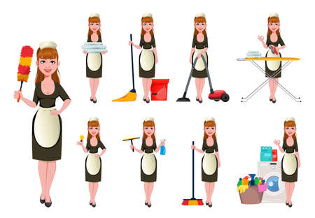 Maid, cleaning lady, smiling cleaning woman, set of nine poses. Cheerful housemaid cartoon character. Vector illustration on white background