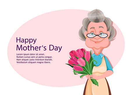 Happy Grandparents day greeting card. Cute smiling old woman. Cheerful grandmother cartoon character holding a bouquet of flowers. Vector illustration