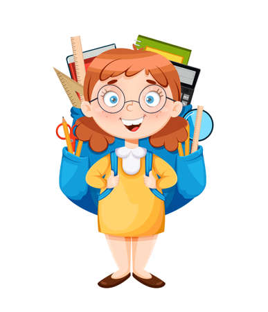 Back to school. Cute schoolgirl with a huge backpack. Funny girl cartoon character. Vector illustration