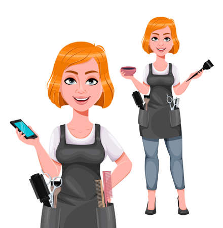 Beautiful redhead girl hairdresser, set of two poses. Cute woman barber holding smartphone and hair dye. Female hairstylist cartoon character. Vector illustration Ilustração