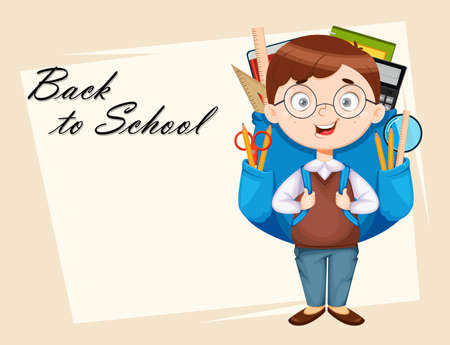 Back to school greeting card. Cute schoolboy with big backpack. Funny boy cartoon character. Vector illustration