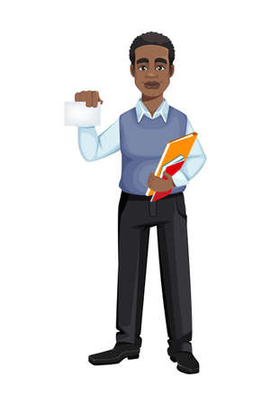 African American business man holding blank card. Cheerful handsome businessman cartoon character. Vector illustration