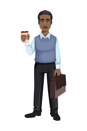 African American business man with a cup of coffee and suitcase. Cheerful handsome businessman cartoon character. Vector illustration