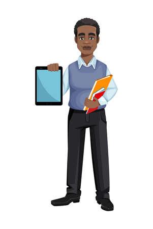African American business man holding tablet. Cheerful handsome businessman cartoon character. Vector illustration Ilustração