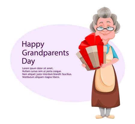 Happy Grandparents day greeting card. Cute smiling old woman. Cheerful grandmother cartoon character holding gift box. Vector illustration Ilustração