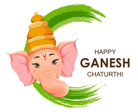 Greeting card with Head of Lord Ganesha. Ganpati idol in traditional Indian clothes for Ganesha Chaturthi holiday. Vector illustration on abstract background