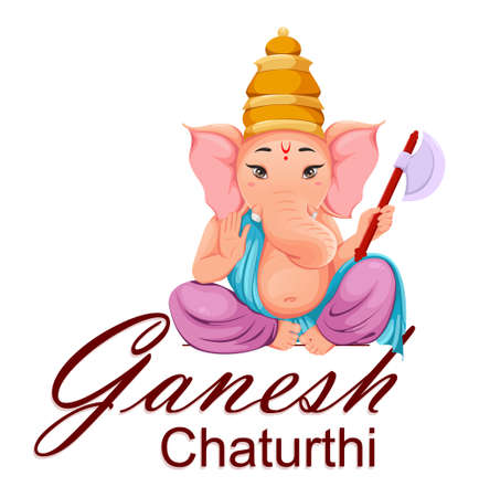 Lord Ganesha, Ganpati idol in traditional Indian clothes for Ganesha Chaturthi holiday. Design of greeting card. Vector illustration