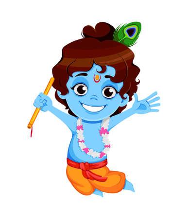 Happy Krishna Janmashtami sale. Little Lord Krishna jumping with flute. Happy Janmashtami festival of India. Vector illustration on white background