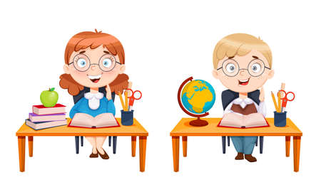 Back to school. Cute schoolgirl and schoolboy sitting at desks. Cheerful girl and boy cartoon characters. Vector illustration on white background
