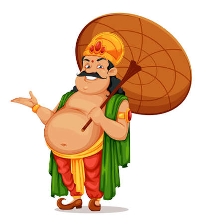 Happy Onam festival in Kerala. Onam celebration, traditional Indian holiday. King Mahabali with umbrella. Vector illustration isolated on white