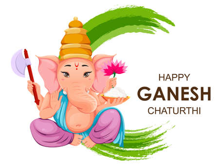 Lord Ganesha. Greeting card with Ganpati idol in traditional Indian clothes for Ganesha Chaturthi holiday. Vector illustration on abstract background