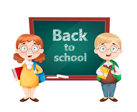 Back to school. Cute schoolgirl and schoolboy standing near blackboard. Funny girl and boy cartoon characters. Vector illustration on white background Ilustração
